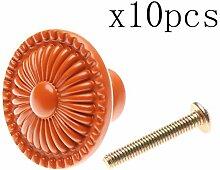 Creatwls Orange Möbelknopf Möbelknauf Möbelgriff Keramik Knöpfe Zieht Griffe für Schublade Schrank Kommode Kleiderschrank Möbel Tür Küche mit Schraube - 10pcs