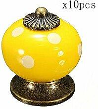 Creatwls Porzellan Möbelgriffe Möbelknauf Retro Keramik knöpfe Griff Knopf Schrankgriff Dekoraktion Küchenmöbel Hardware - 10pcs, Gelb