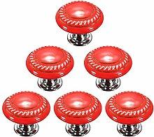 Creatwls Rot Mode Kreis MusterRunder Keramik Knopf,Einloch TürKnopf Handgriff Schrank Kleider Garderobe Schubladen Ziehgriff Haus Dekoration - 6PCS