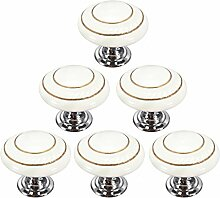 Creatwls Weiß Mode Kreis MusterRunder Keramik Knopf,Einloch TürKnopf Handgriff Schrank Kleider Garderobe Schubladen Ziehgriff Haus Dekoration - 6PCS