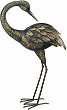 """Creekwood?Regal-Geschenke?64cm hoch Vogel aus pulverbeschichtetem Metall Statue/Ornament mit Erdspieß (Patina Crane """"""""Gefiederpflege)"""
