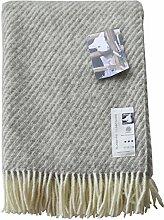 Creme-graue Streifen Wolldecke aus 100% skandinavischer Schurwolle, ca 200x130cm mit Fransen, 800g