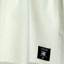 Cremefarbene Wolldecke aus 100% neuseeländischer Schurwolle, ca 200x130cm mit Fransen, 850g