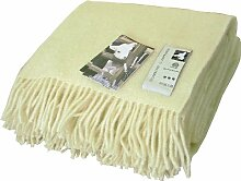 Cremefarbene Wolldecke aus 100% skandinavischer Schurwolle, ca 200x130cm mit Fransen, 860g