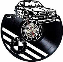 CRGH Uhr Wanduhr BMW Auto Schallplatte Wanduhr