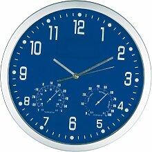 Crisma Design Wanduhr - mit Hygrometer und Thermometer - Farbe blau + GM-IT Kugelschreiber