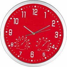 Crisma Design Wanduhr - mit Hygrometer und Thermometer - Farbe rot + GM-IT Kugelschreiber