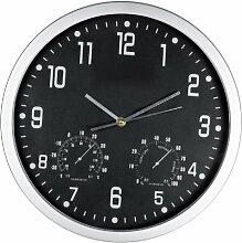 Crisma Design Wanduhr - mit Hygrometer und Thermometer - Farbe schwarz + GM-IT Kugelschreiber
