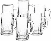 CRISTALICA Bierkrug 6er-Set aus Glas Bierglas mit