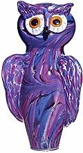 Cristalica Gartentier Eule lila blau Gartenfigur