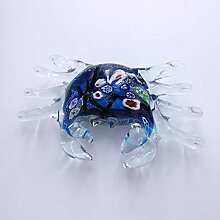 CRISTALICA Glasfigur Krebs blau Murano-Glas 17 cm