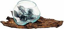 CRISTALICA Glasschale Teakholz Wurzel Vase