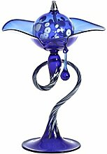 CRISTALICA Öllampe mit Tropfen BLOOM blau, H=18cm, aufwendig handgeformter Glasartikel - jedes Stück ein Unikat (ART GLASS powered by