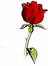CRISTALICA Rose Blumen 20cm Glas Blüten Figur