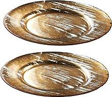 CRISTALICA Teller Obstteller Pastateller Golden