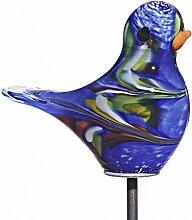 Cristalica Vogel Gartenfigur Spatz Tier Deko Glas