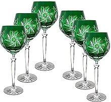 CRISTALICA Weinglas Weinkelch Römer Glas grün