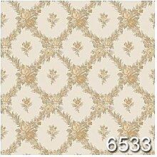 CRISTIANA MASI–Papier Tapete mit Blumen beige und gold mit Position in Rauten auf Boden Effekt Stoff beige hell. Rollen Große aus Vinyl. Opera 6533