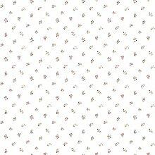CRISTIANA MASI–Tapete A Rollen mit Sträußen von Wildblumen rote, rosa und beige auf Boden Weiß Blooming Garden 4122