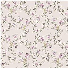 CRISTIANA MASI–Tapete Blumen Country 2533Blumen Romantik mit lebendigen Farben des Pink auf Boden beige