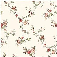 CRISTIANA MASI–Tapete in Rollen mit Position von Rose Vines mit Farben rot und beige auf Boden Elfenbein aus Vinyl waschbar Blooming Garden 4118