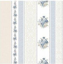 CRISTIANA MASI–Tapete Streifen Damast und Floral Blau und taupe mit Boden weiß der Blooming Garden 4105