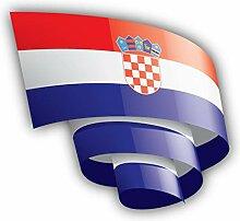 Croatia Flag Ribbon - Self-Adhesive Sticker Car