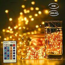 CroLED LED Lichterkette Kupferdraht 30M Streifen Wasserdicht 300LED Lichterketten Dimmbar Strips Außen Beleuchtung Dekoration Wohnung Warmweiß DC 12V