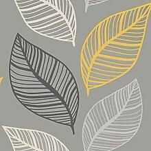 Crown Emporium Elba Leaf Tapete Gelb/Grau M1461