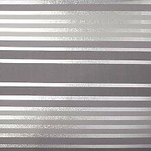 Crown Luxe Mayfair Eaton Stripe Tapete Grau/Silber