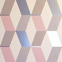 Crown Luxe Mayfair Hatton Geometric Tapete Blush