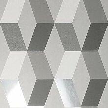 Crown Luxe Mayfair Hatton Geometric Tapete Grau