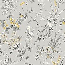 Crown M1551 Mariko Grey/Yellow Wallpaper Tapete