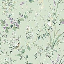 Crown M1552 Mariko Mint/Plum Wallpaper Tapete