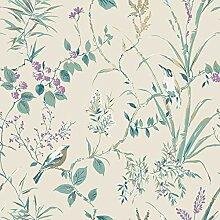 Crown M1554 Mariko Teal/Plum Wallpaper Tapete