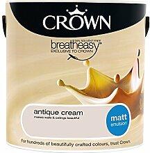 Crown Matt Emulsion Wandfarbe, 2,5l, Antique Cream