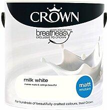 Crown Matt Emulsion Wandfarbe, matt–Milch weiß