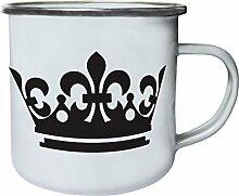 crown Retro, Zinn, Emaille 10oz/280ml Becher Tasse