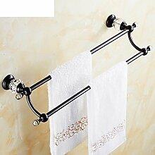 Crystal Black Bronze Handtuchhalter Doppel Handtuchhalter Europäische antike Bad Handtuchhalter Bad-Accessoires Racks