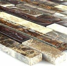 Crystal Marmor Glas Mosaik Fliese Braun Beige