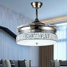 Crystal unsichtbare Silber Deckenventilator Licht