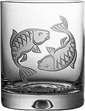 Crystaljulia 05916 Whiskyglas mit Zodiak Fische
