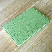 CS 5 Stücke A5 Notebook Niedlichen Cartoon Schreibwaren Leder Notebook Business Bürobedarf Tagebuch 80G Dick (Color : Green)
