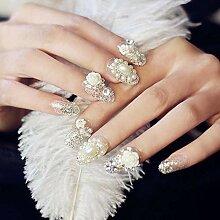 CSCH Künstliche Nägel 24 Stück edle Perle Blume