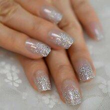CSCH Künstliche Nägel Farbe Silber Glitter