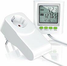 CSL - Stromkostenmessgerät / Energiekostenmessgerät / Stromverbrauchszähler inkl. Kabelverlängerung | Power Cost Monitor | Datum / Uhrzeit / Kosten / CO2-Einstellungen | 3680W