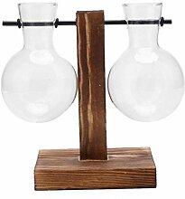 CTOBB Glas Holz Vase Pflanzer Terrarium Tisch