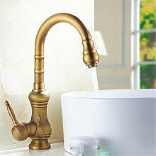 Cu alle Continental antiken Wasserhahn Küche Waschbecken Küche Waschtisch Armatur Sitzbank Becken heiße und kalte rotation Mixer, antike Wasserhahn