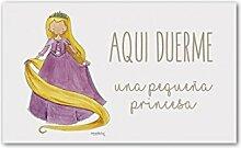 cuadriman Platte Tür Rapunzel, Holz, Pink/Gelb, 25x 15x 3cm