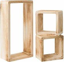 Cube Regale Set von 3 modularer-regale wand auf holzwürfel (Cod. RE4121)